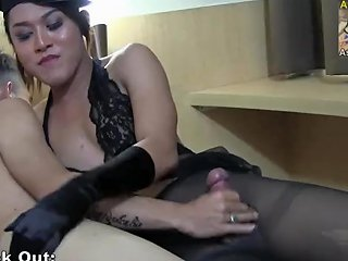 Malika Gets A Nice Handjob And Shoots A Big Load Of White Cum On Her Black Stockings