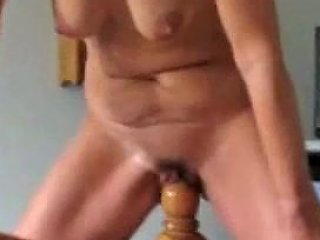 My Creative Mature Wife Stretches Her Pussy With A Wooden Pole