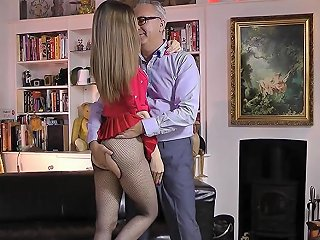 Teen Enjoys Tugging And Riding Oldmans Cock