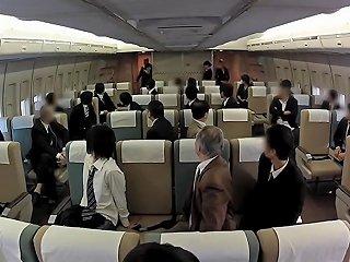 Japanese Stewardesses Seduce Their Horny Passenger On The Plane