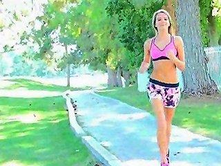 Kenna Porn Blonde XXX Show Jogging Golf Course