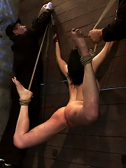 Brutal flogging and caning. Our sexy marketing girl can take it, and take it with a smile. Sexy!
