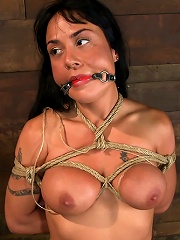 Sexy Hawaiian chick has her huge tits bound, whippedcums hard while impaled, squirting buckets!