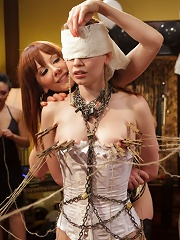 Justine Jolis Whipped AssElectrosluts LIVE and PUBLIC all girl birthday BDSM orgy!!