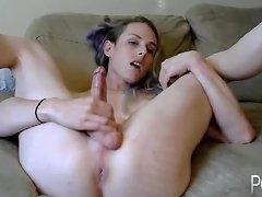 Nice Blonde Tgirl Jerking On Webcam