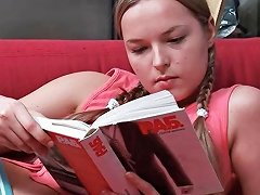Cute Teen Is Reading And Is Stopped So He Can Finger Her