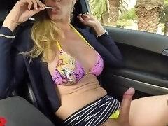 Pretty Trans Girl In Bikini And Masturbating In The Car Cum