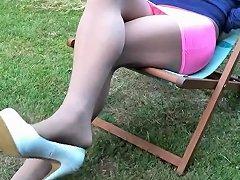 Crossdresser Pantyhose Relaxing In A Deckchair Txxx Com